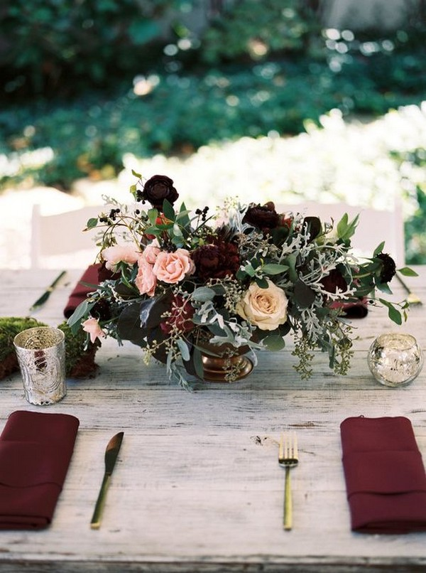 marsala and gold wedding centerpiece for fall