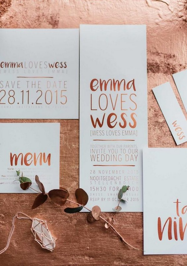 metallic copper wedding invitations