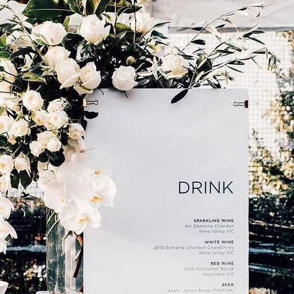 minimalist wedding bar menu sign