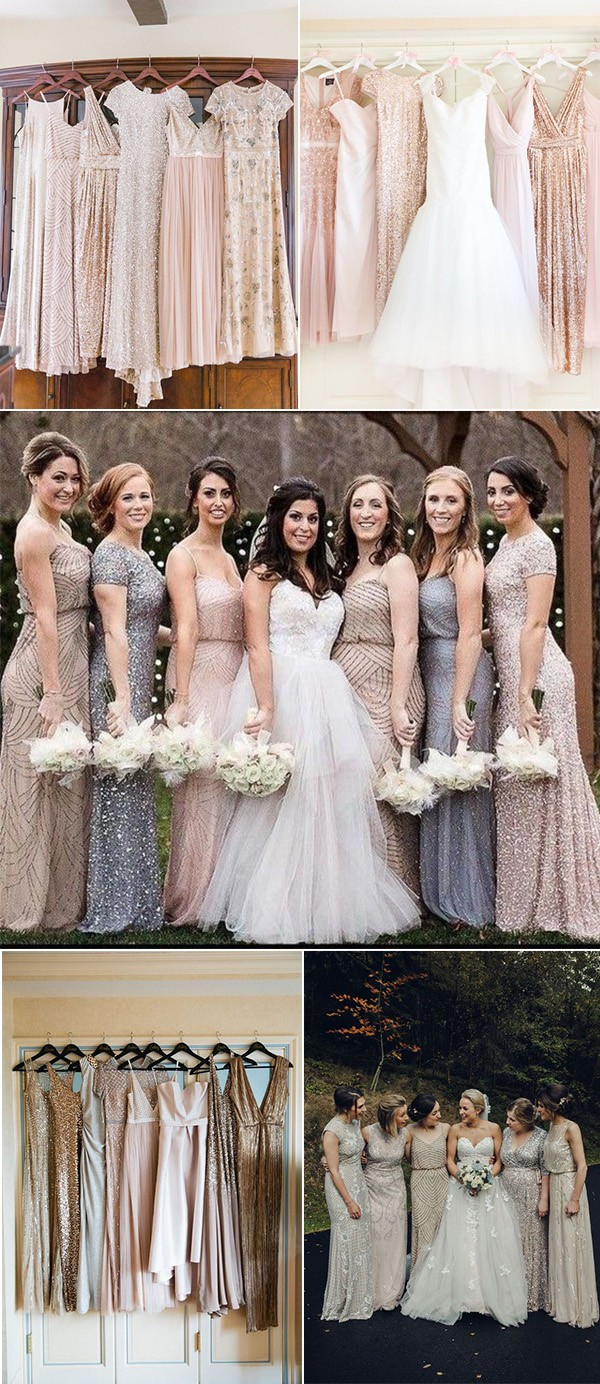 mismatched sequined bridesmaid dresses