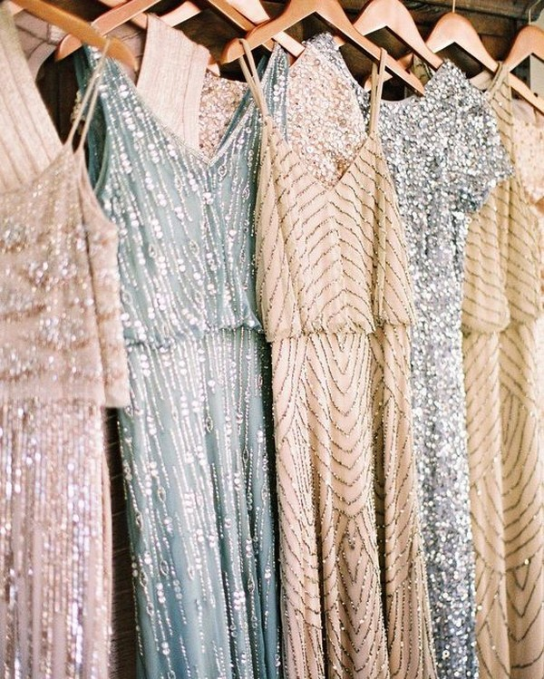 mismatched sequins bridesmaid dresses by Adrianna Papell