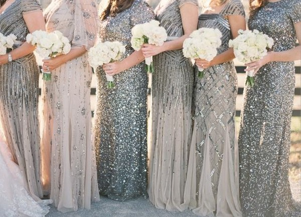 mismatched silver glitter bridesmaid dresses