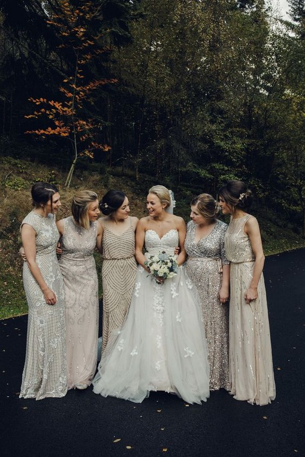 mix and match neutral glitter bridesmaid dresses
