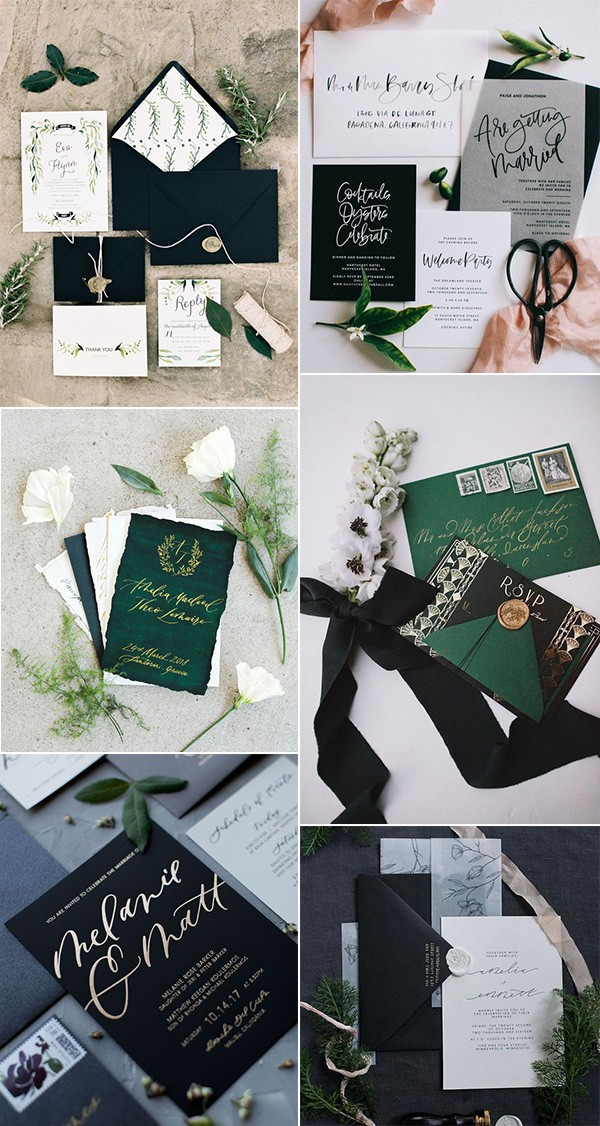 modern black green and white wedding invitations