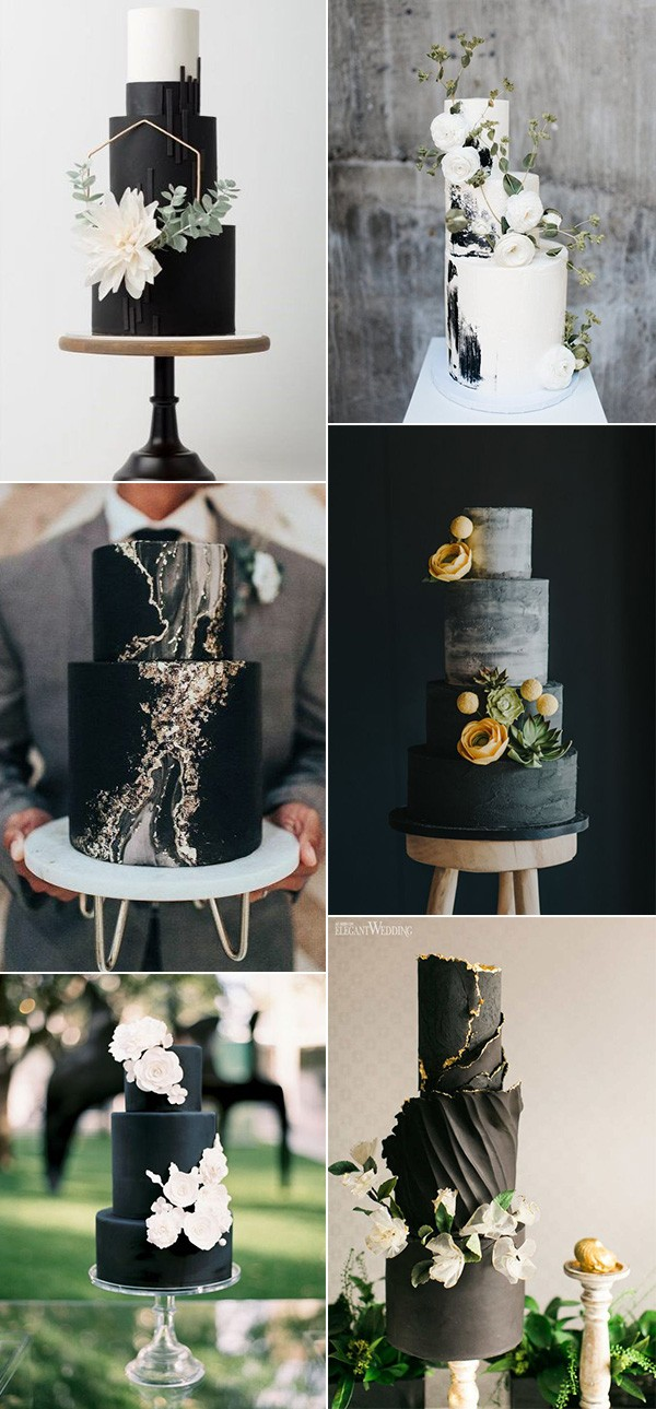 modern black wedding cakes