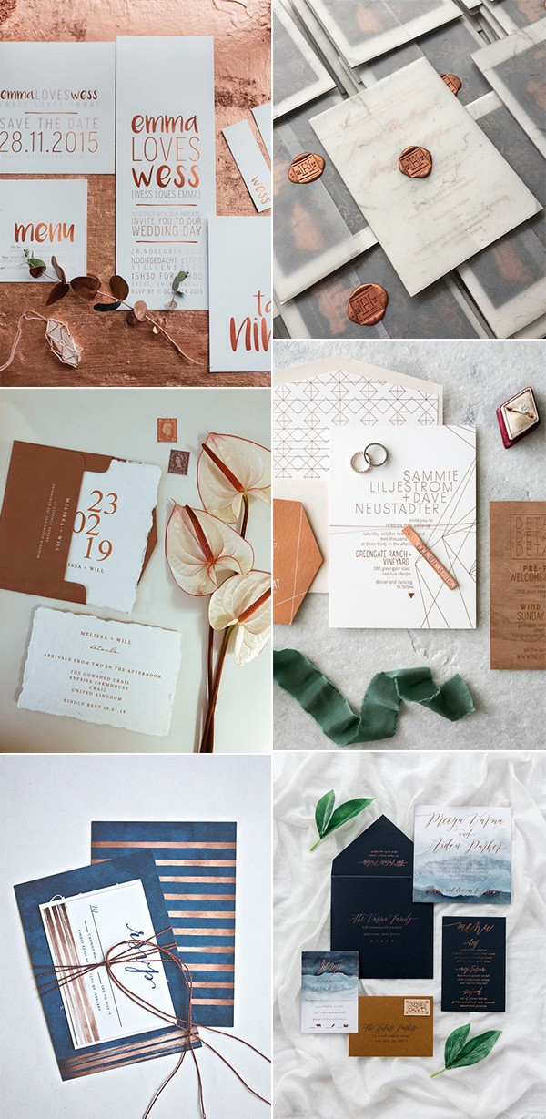 modern copper wedding invitations
