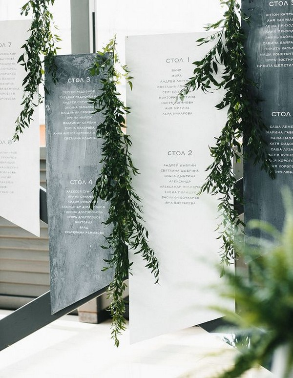 modern sheet greenery wedding seating chart ideas