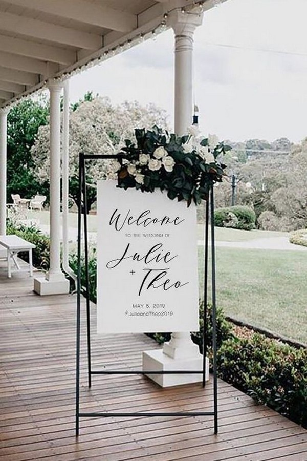 modern simple wedding welcome sign