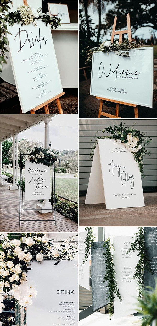 modern white greenery and black wedding signs