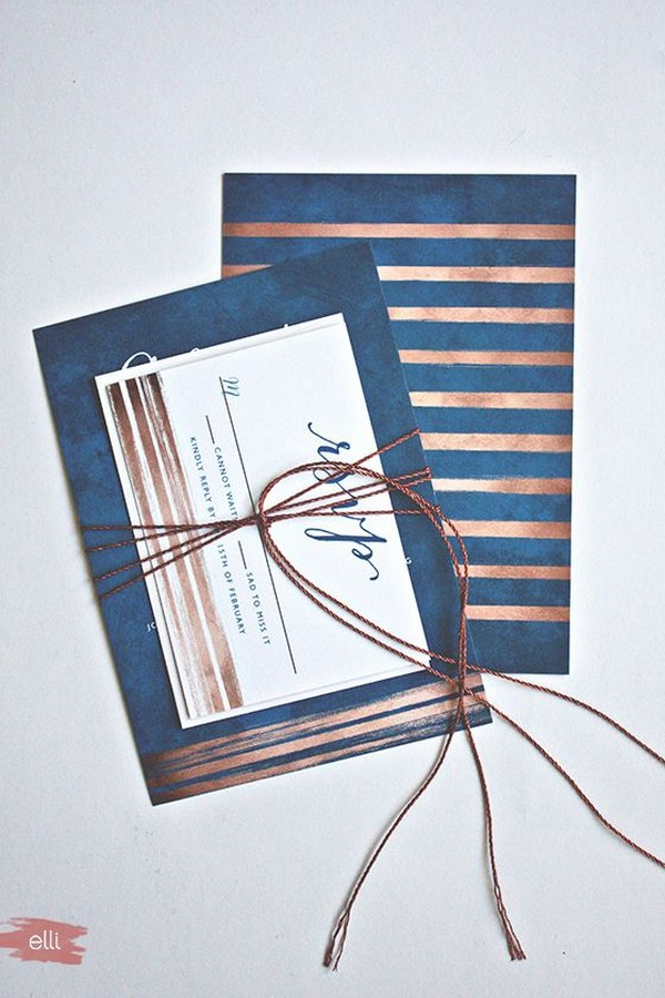navy blue and copper wedding invitations