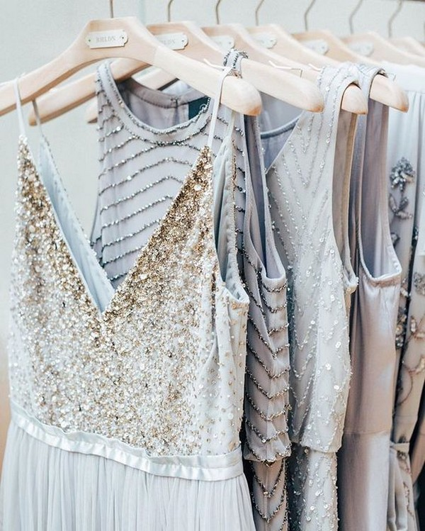 neutral glitter pretty bridesmaid dresses