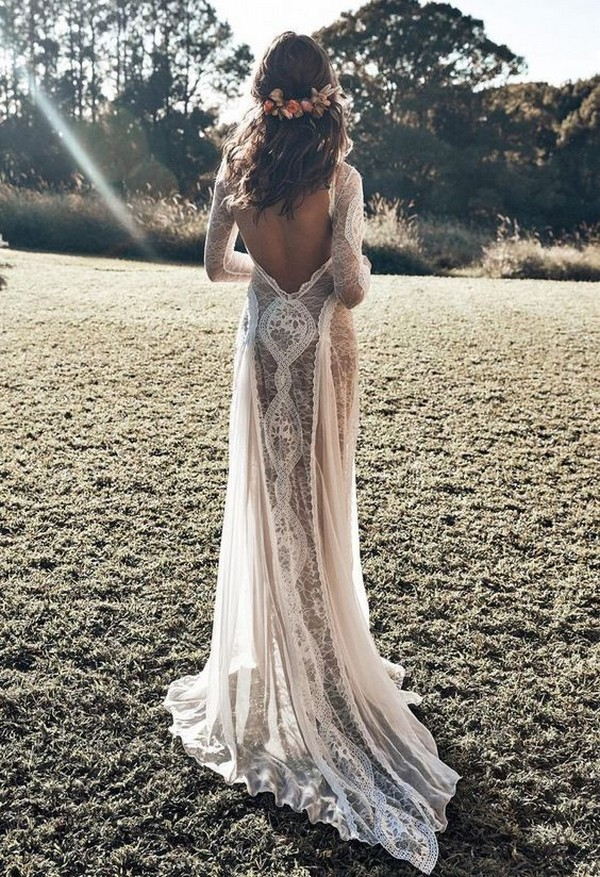open back boho lace wedding dress