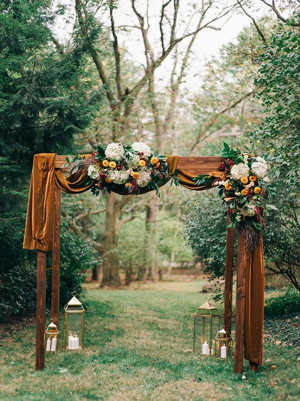 orange fall wedding arch ideas