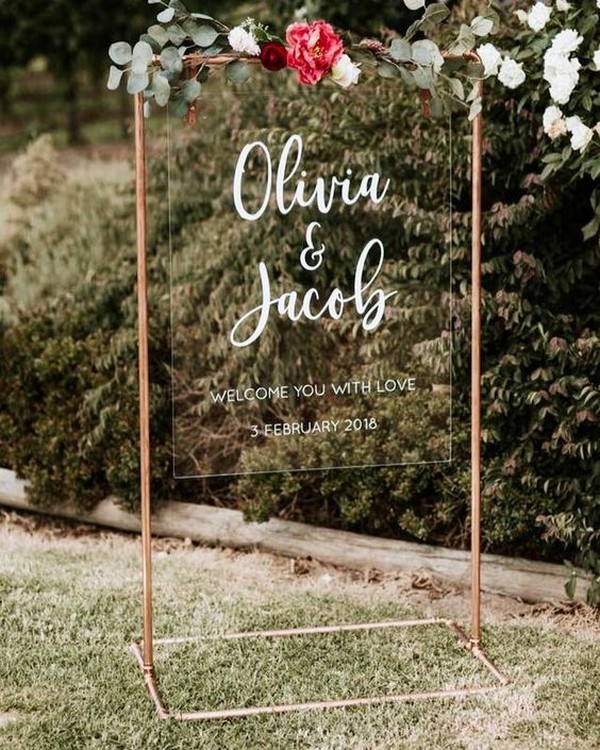 outdoor acrylic wedding sign ideas with copper stand