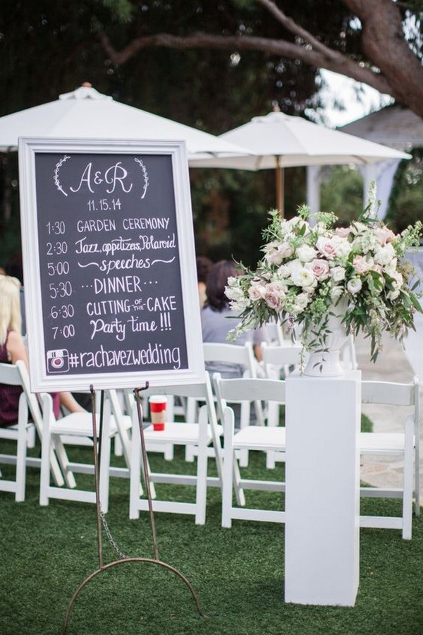 outdoor chic wedding day timeline sign ideas