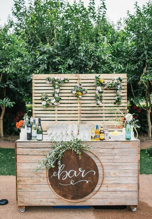 outdoor wooden wedding drink bar ideas