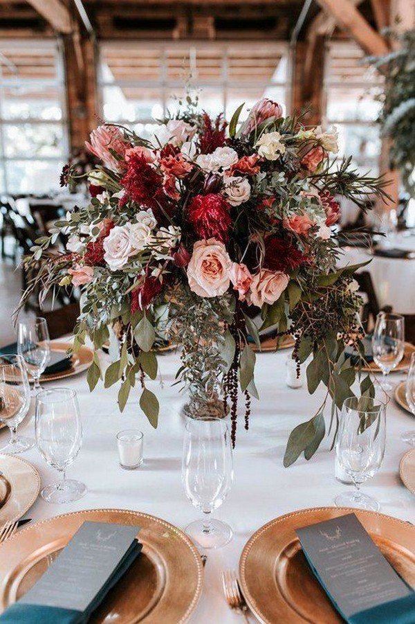 pinks and reds fall wedding centerpiece