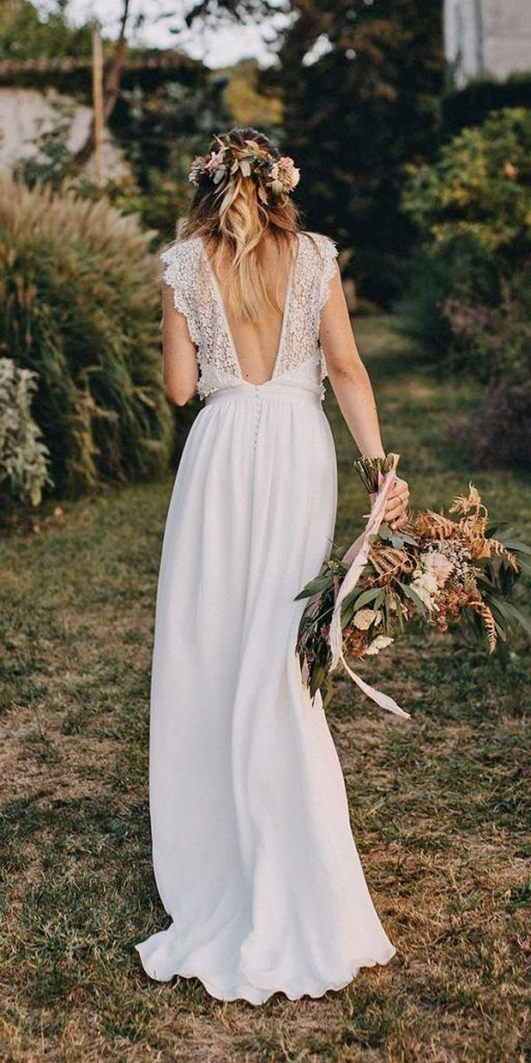 pretty long boho wedding dress with v back