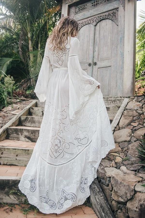 romantic bohemian lace wedding dress