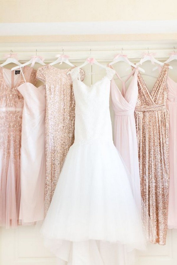 rose gold sequins mismatched bridesmaid dresses