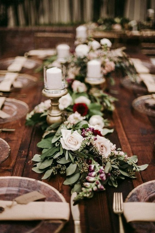 rustic burgundy and greenery wedding centerpiece ideas