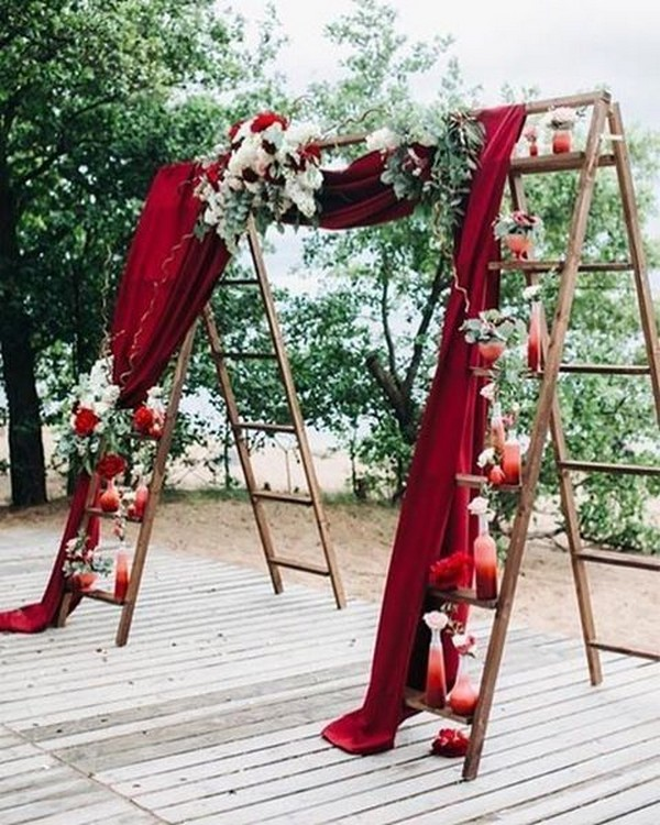 rustic burgundy fall wedding arch