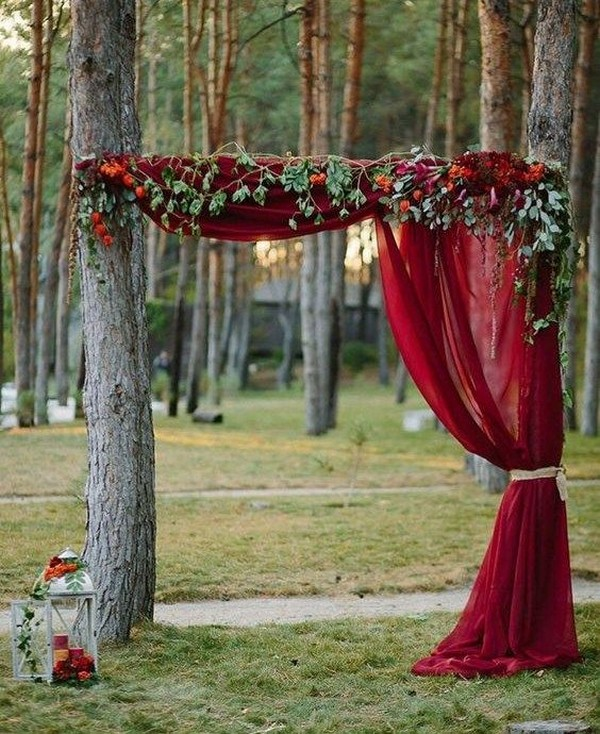 rustic burgundy fall wedding ceremony arch