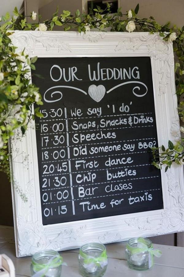 rustic chalkboard wedding timeline sign ideas