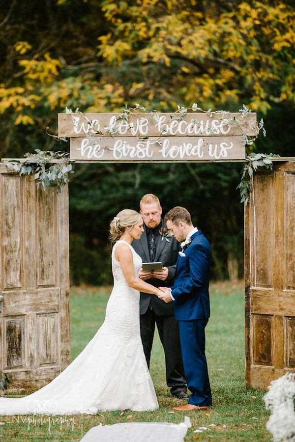 rustic outdoor fall wedding arch