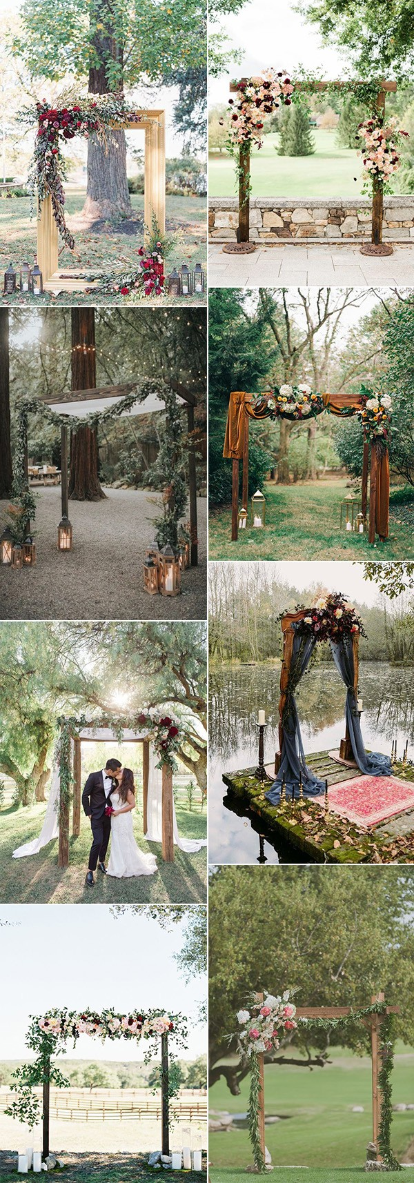 rustic outdoor fall wedding arches