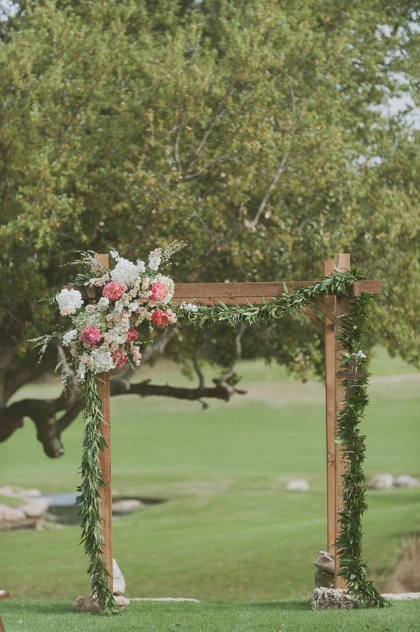 rustic outdoor fall wedding ceremony arch ideas