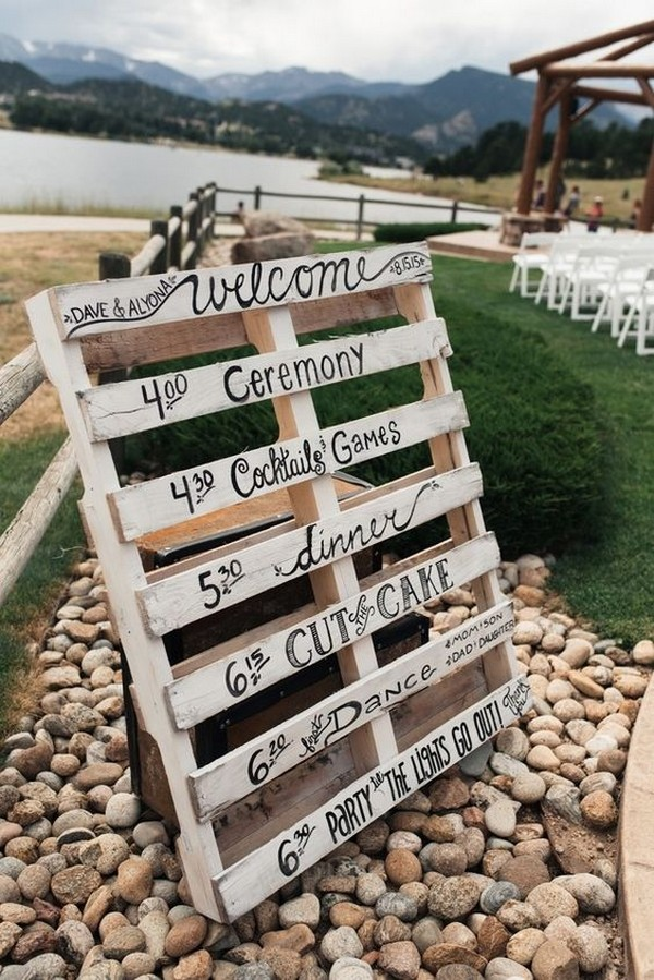 rustic pallet wedding day timeline sign