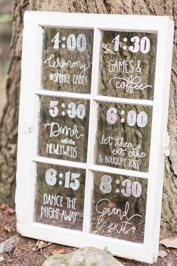 rustic vintage window wedding timeline sign ideas