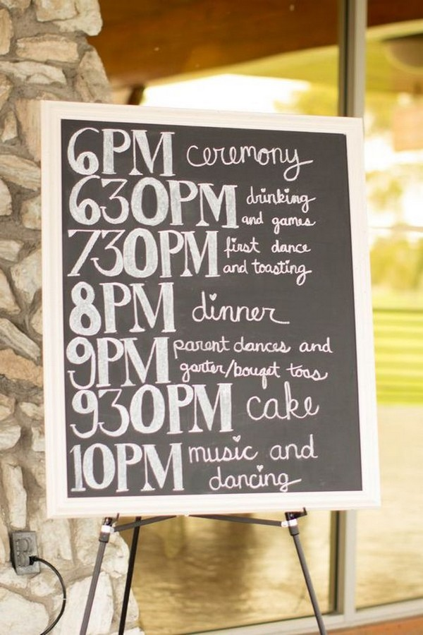 rustic wedding day timeline sign