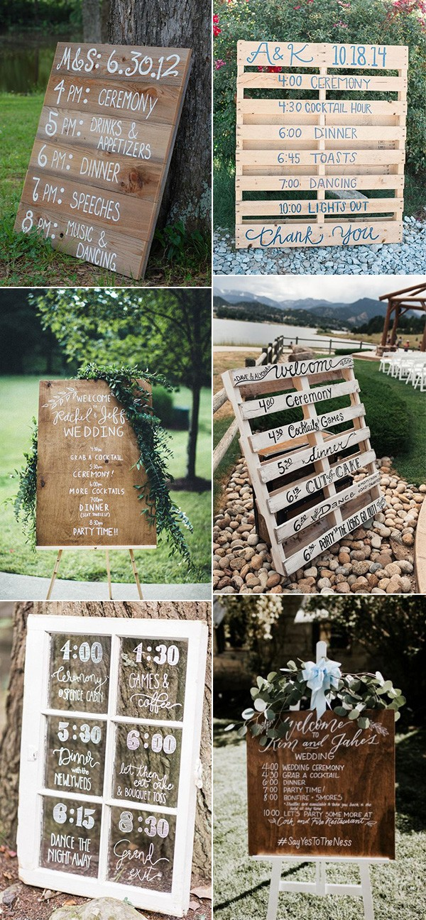 rustic wedding day timeline signs for outdoor weddings