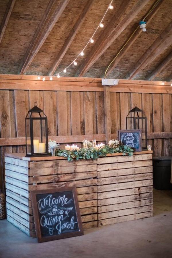 rustic wedding reception bar ideas