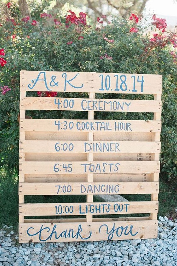 rustic wood pallets wedding day timeline sign