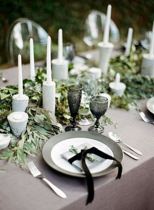 sage green white and black wedding table setting ideas