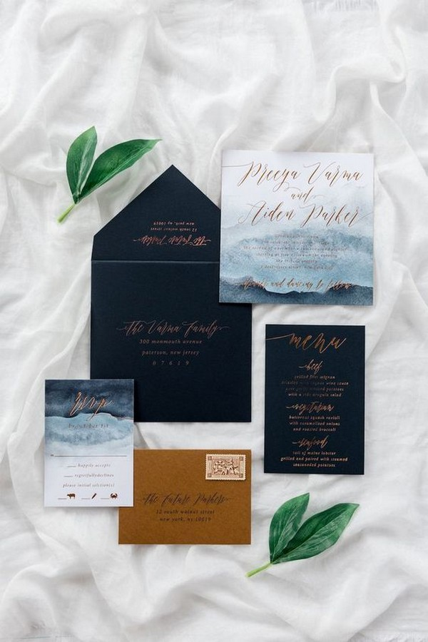 shades of blue and copper foil wedding invitations