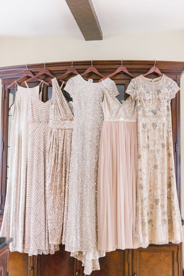 shades of blush sequins bridesmaid dresses
