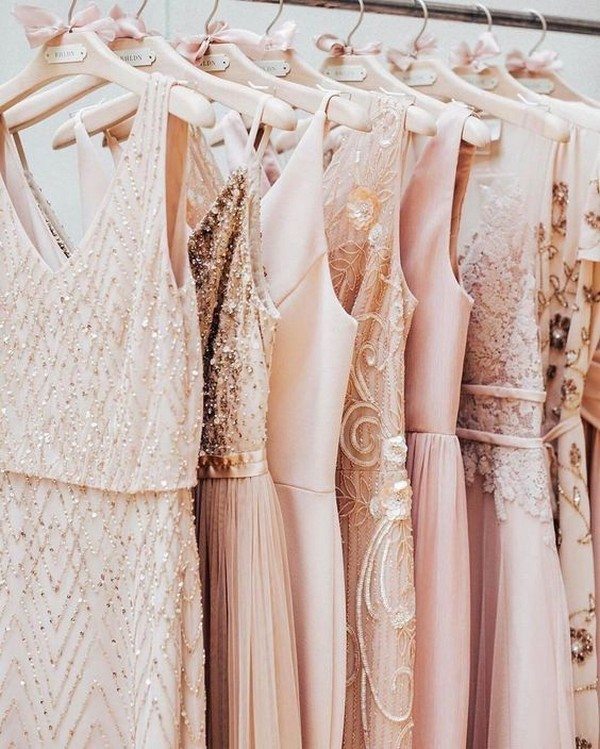 shades of pink mismatched sequins bridesmaid dresses