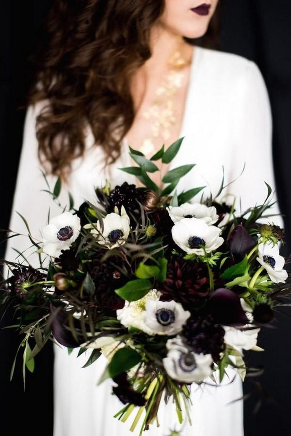 sleek green white and black wedding bouquet