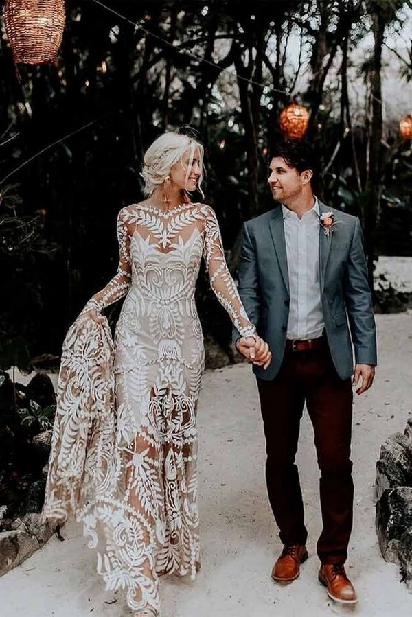 trending boho wedding dress with long sleeves
