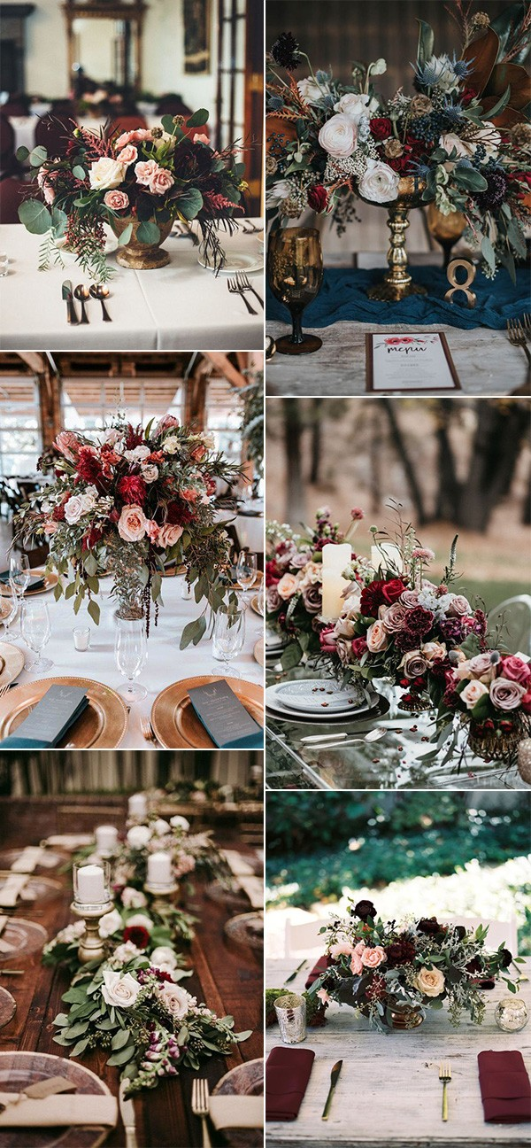 trending burgundy fall wedding centerpieces