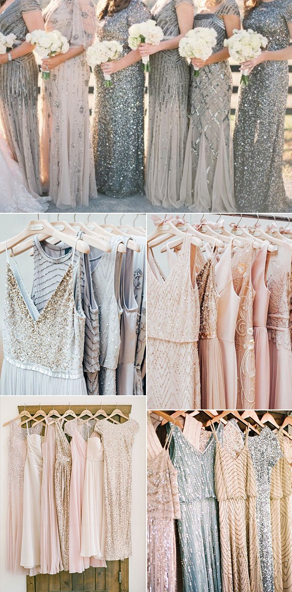 trending mismatched sequins bridesmaid dresses