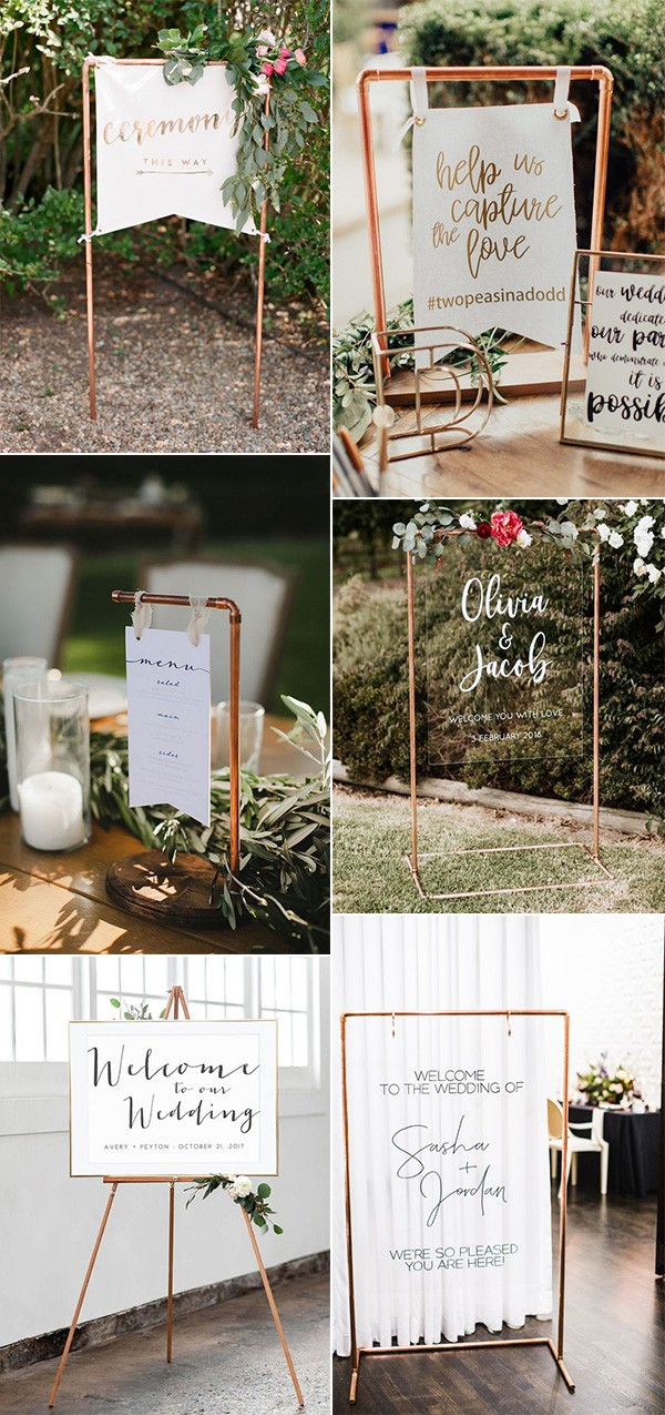 trending wedding sign ideas with copper pipe