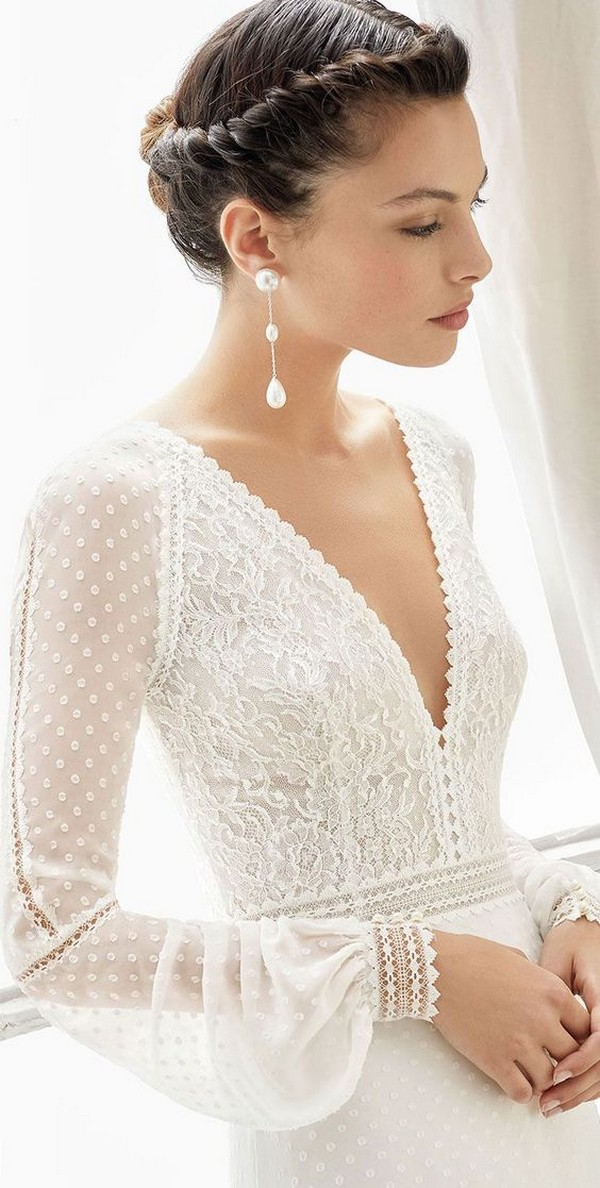 v neck lace wedding dress with long sleeves