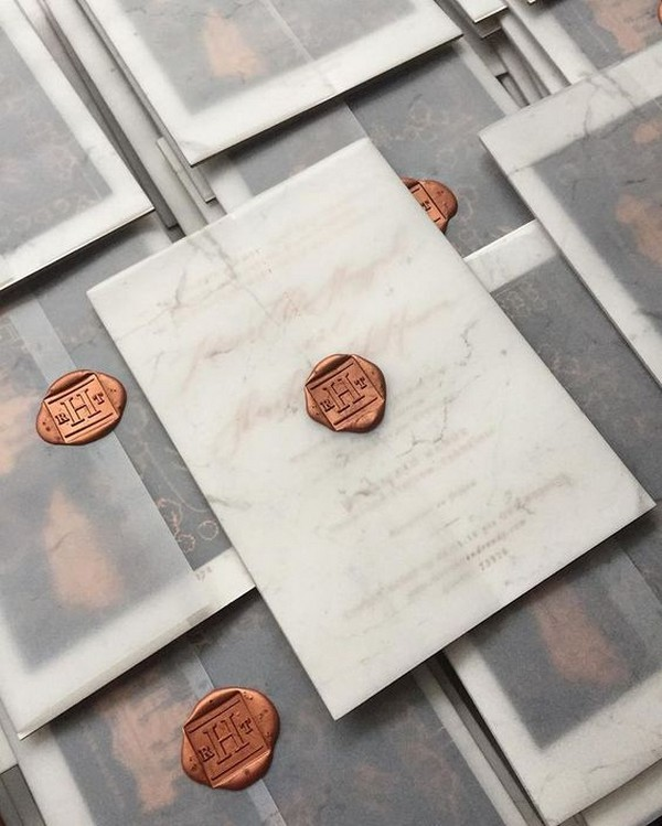 vellum paper pocket wedding invitations with copper square wax seal