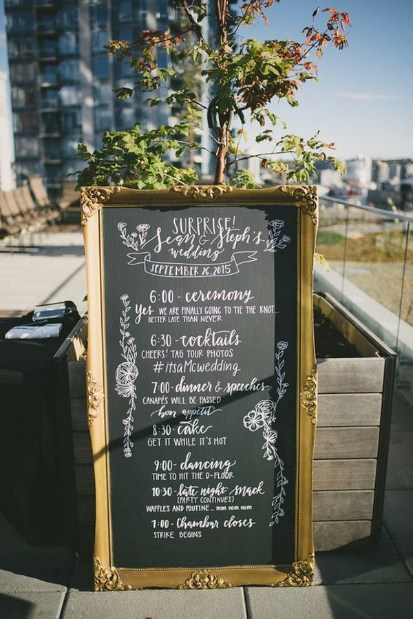 vintage chalkboard wedding day timeline sign