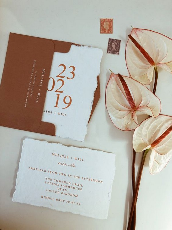 vintage copper wedding invitations